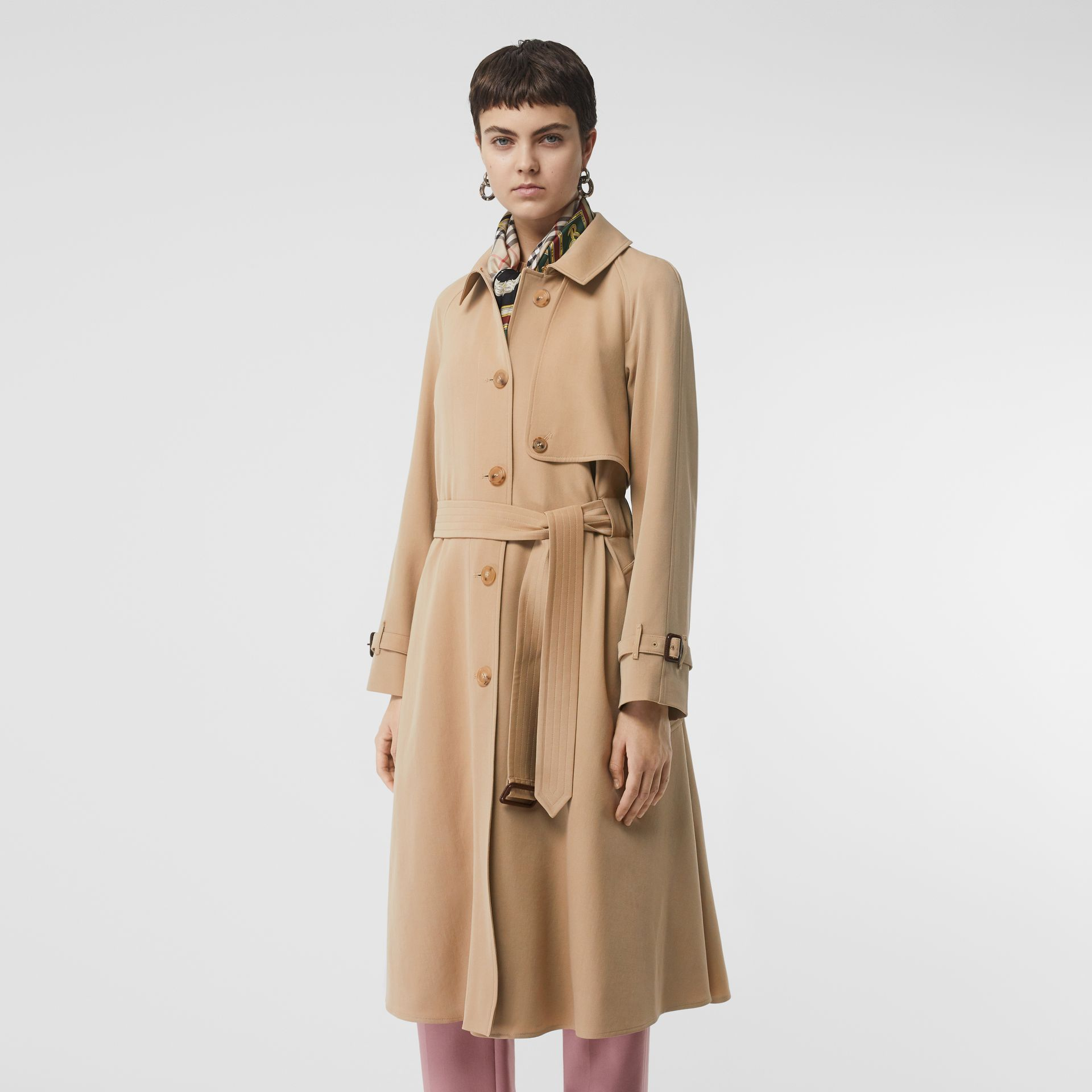 Wool Gabardine Trench Coat in Honey - Women | Burberry United Kingdom - gallery image 7
