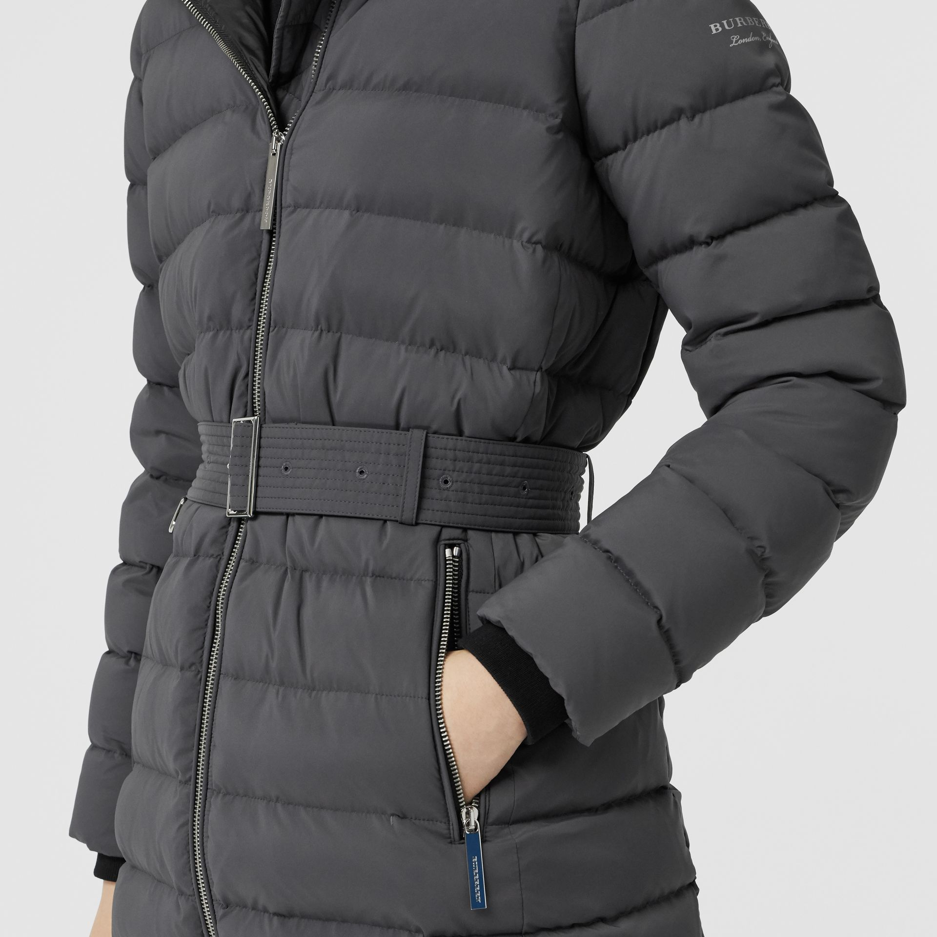 Detachable Shearling Trim Down-filled Puffer Coat in Mid Grey - Women | Burberry - gallery image 5