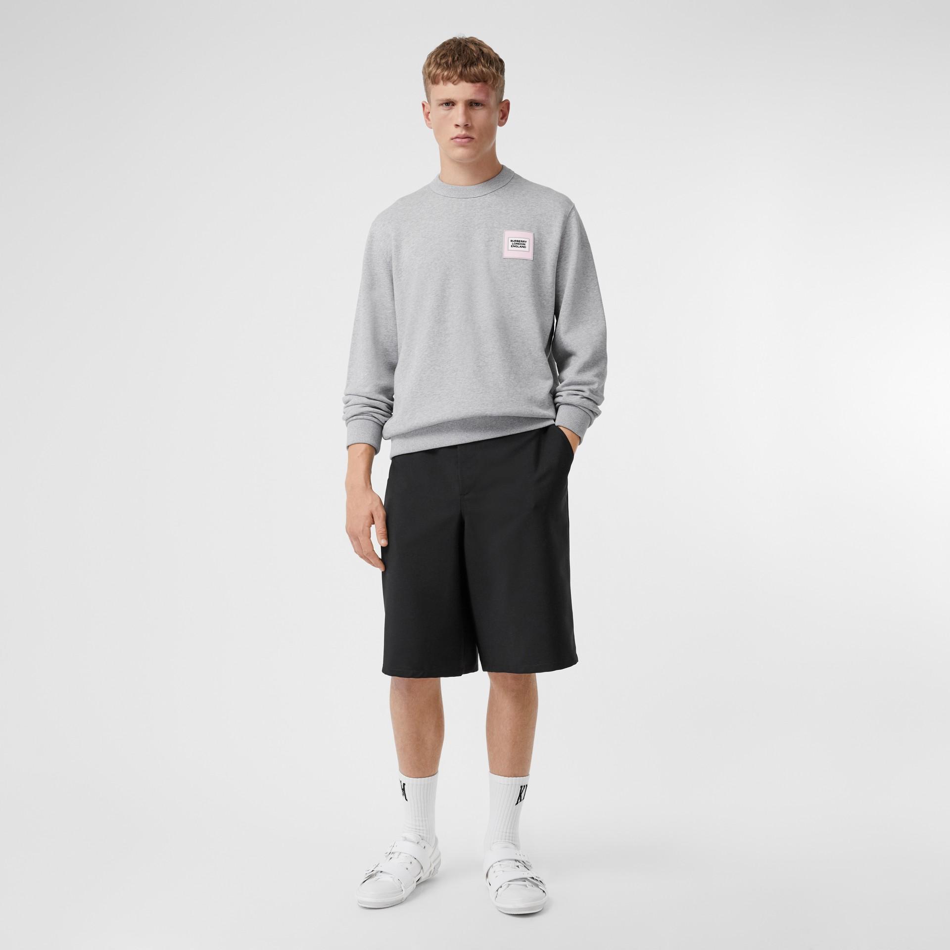 Logo Appliqué Cotton Sweatshirt in Pale Grey Melange - Men | Burberry United Kingdom - gallery image 4