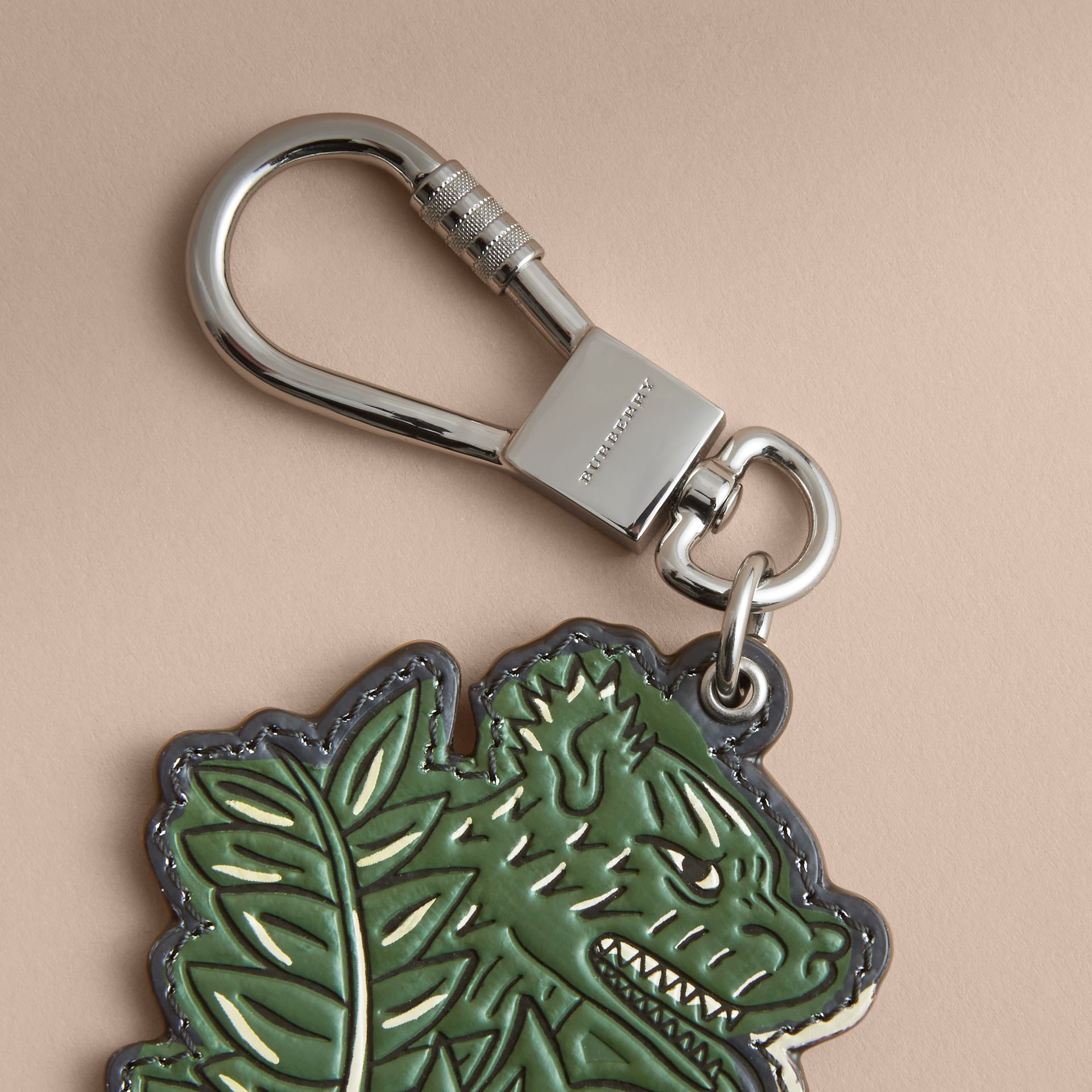 Beasts Leather Key Ring in Olive Green - gallery image 2