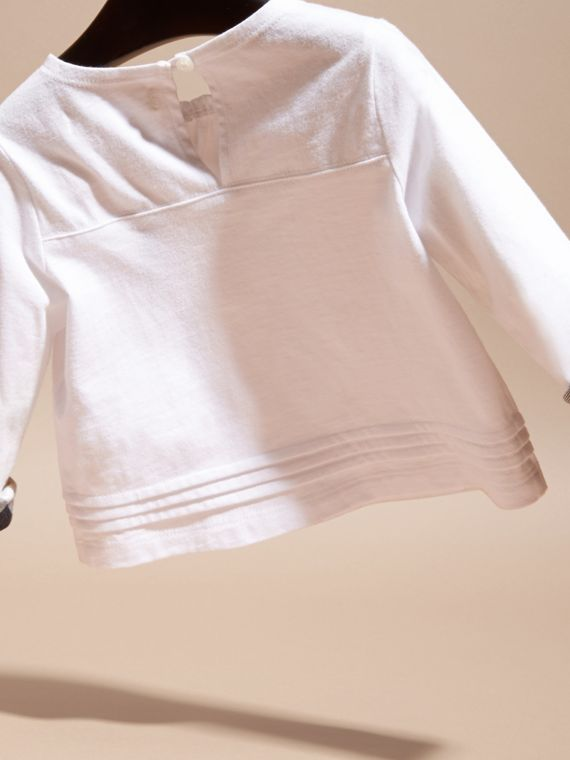 White Long-sleeved Check Trim Cotton T-shirt - cell image 3
