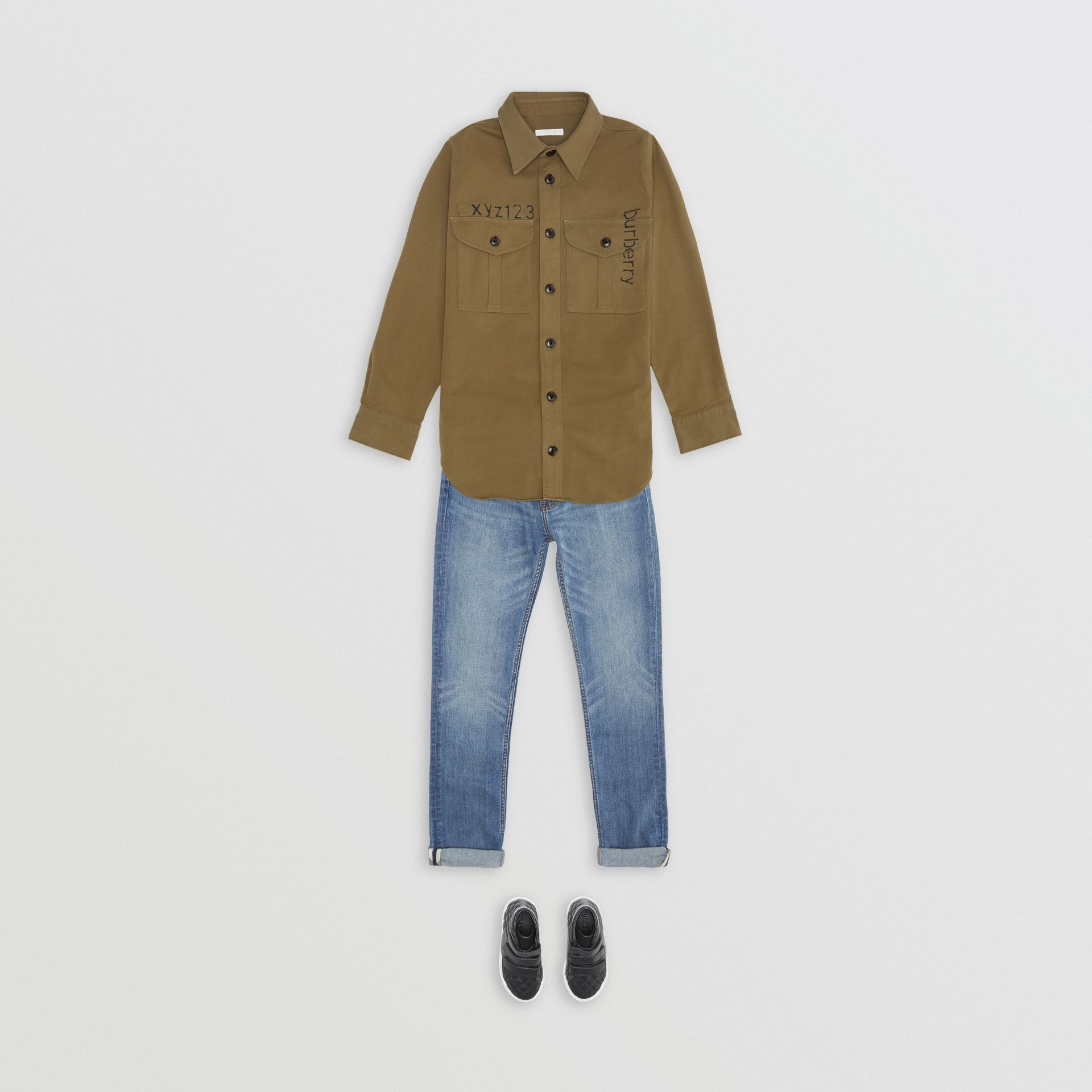 Stencil Print Cotton Wool Army Shirt in Olive | Burberry - gallery image 2