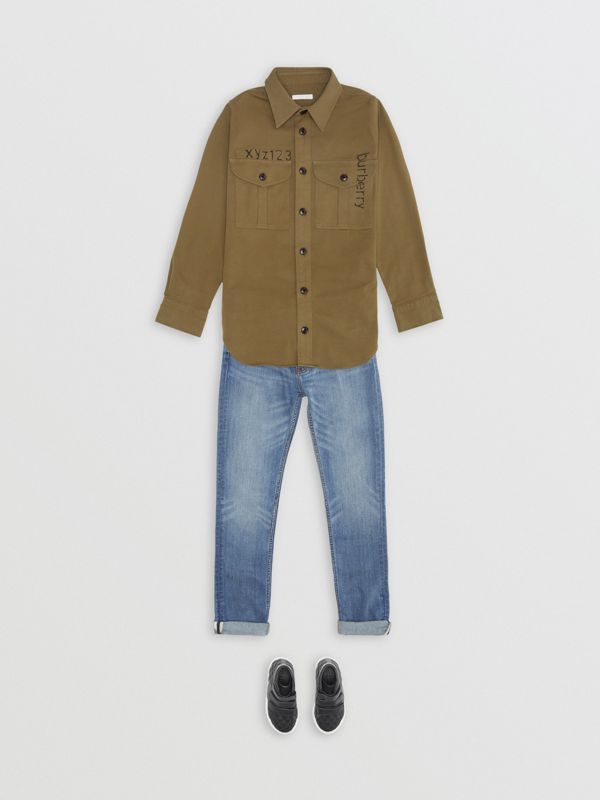 Stencil Print Cotton Wool Army Shirt in Olive | Burberry - cell image 2