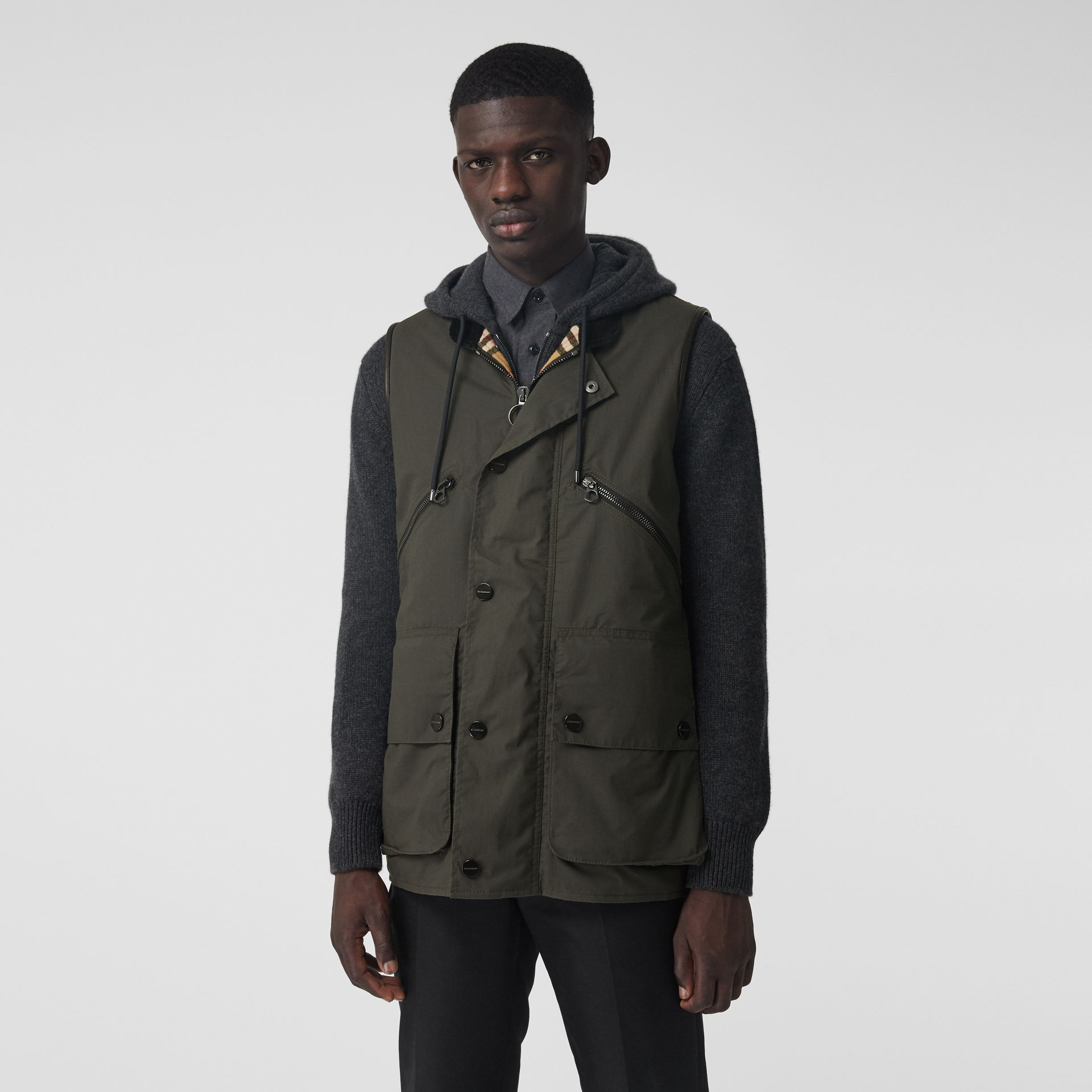 Detachable Hood Waxed Cotton Gilet in Olive - Men | Burberry - gallery image 5