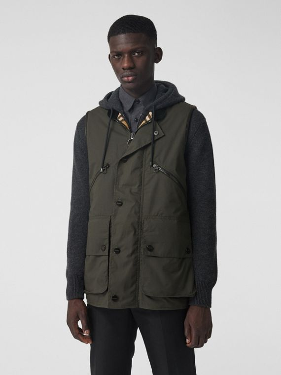 Detachable Hood Waxed Cotton Gilet in Olive