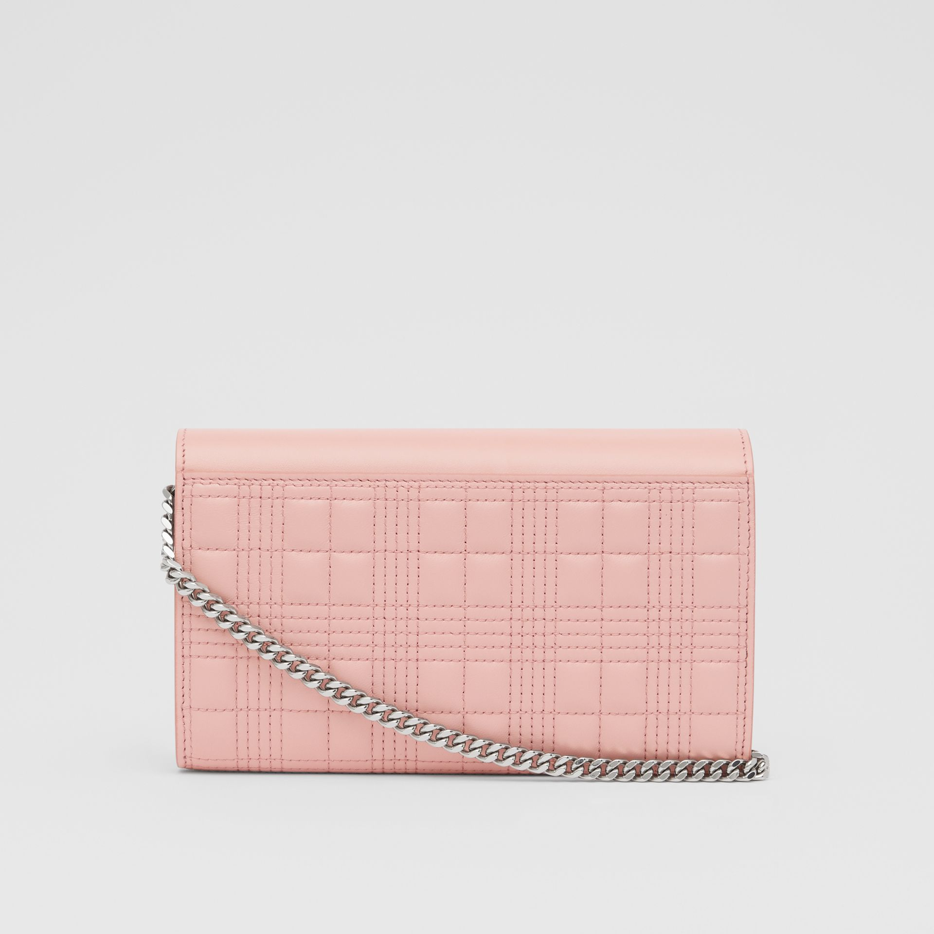 Quilted Lambskin Wallet with Detachable Chain Strap in Blush Pink - Women | Burberry - gallery image 7