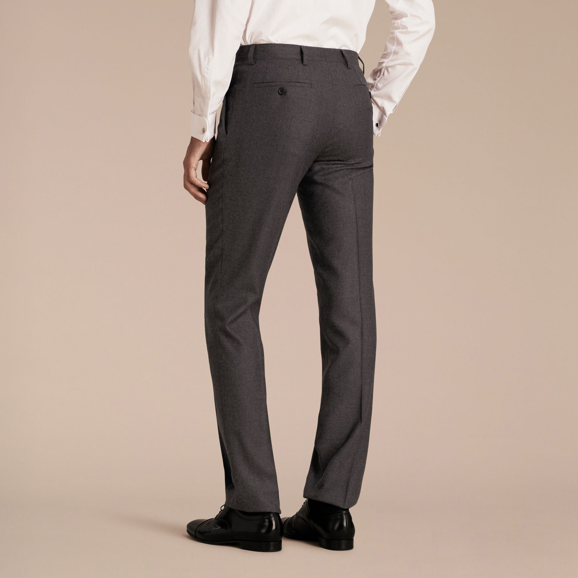 Dark grey melange Modern Fit Travel Tailoring Brushed Wool Trousers - gallery image 3