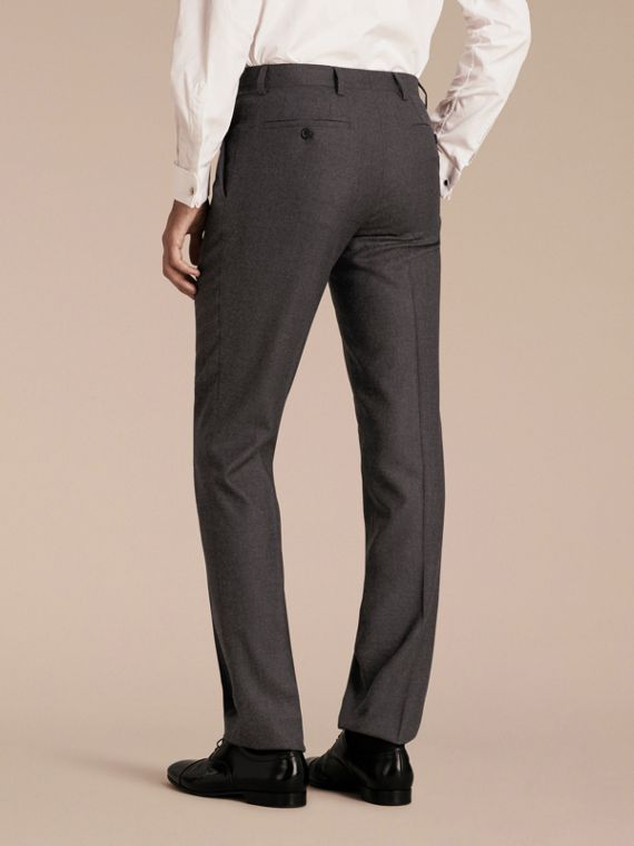 Dark grey melange Modern Fit Travel Tailoring Brushed Wool Trousers - cell image 2