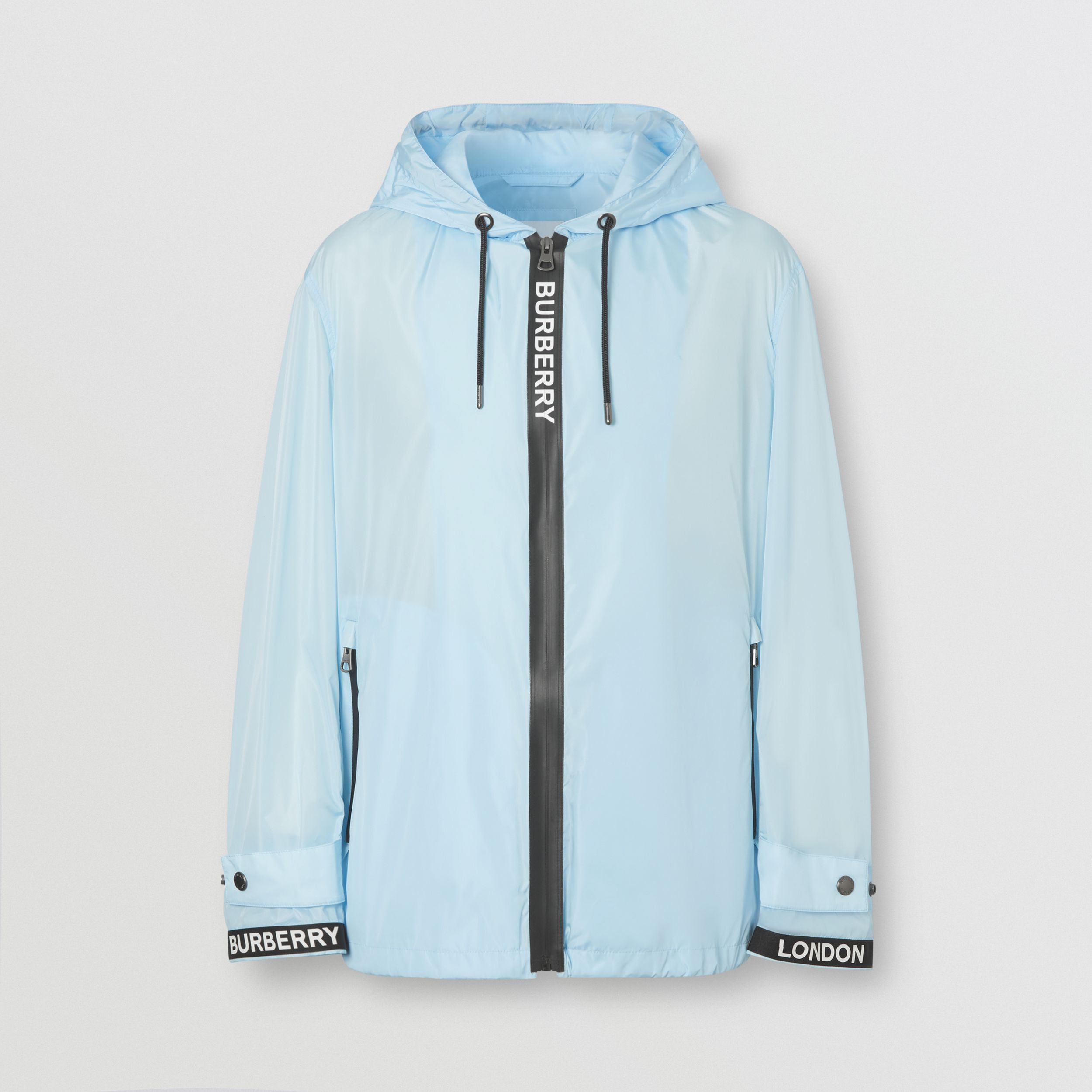 Logo Tape ECONYL® Hooded Jacket in Pale Blue - Men | Burberry - 4