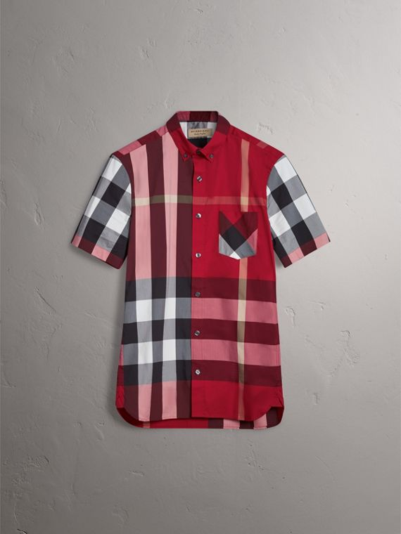 Short-sleeve Check Stretch Cotton Blend Shirt in Parade Red - Men | Burberry - cell image 3