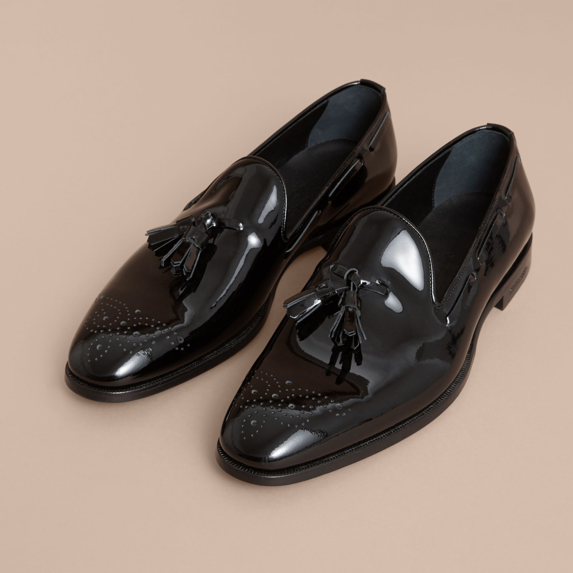 Tasselled Patent Leather Loafers in Black - Men | Burberry Canada - gallery image 4