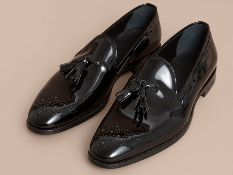 Tasselled Patent Leather Loafers in Black - Men | Burberry - cell image 4