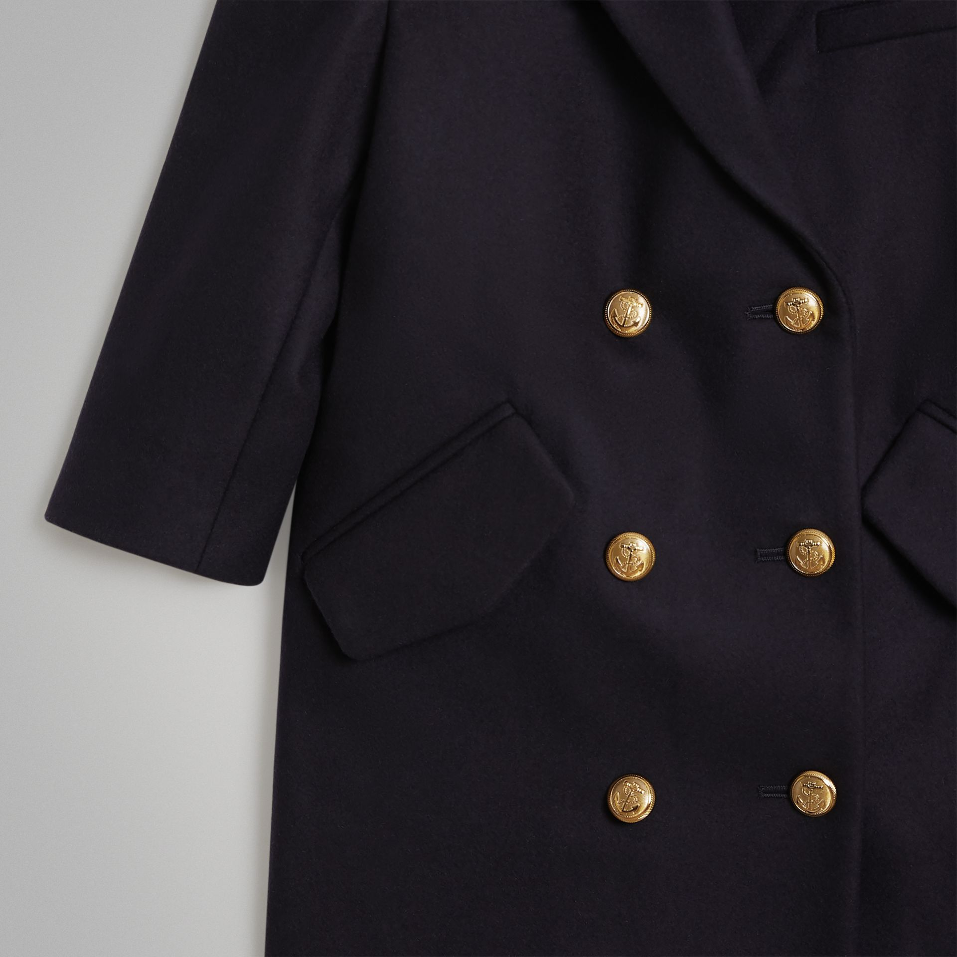 Crested Button Wool Pea Coat in Navy | Burberry - gallery image 4