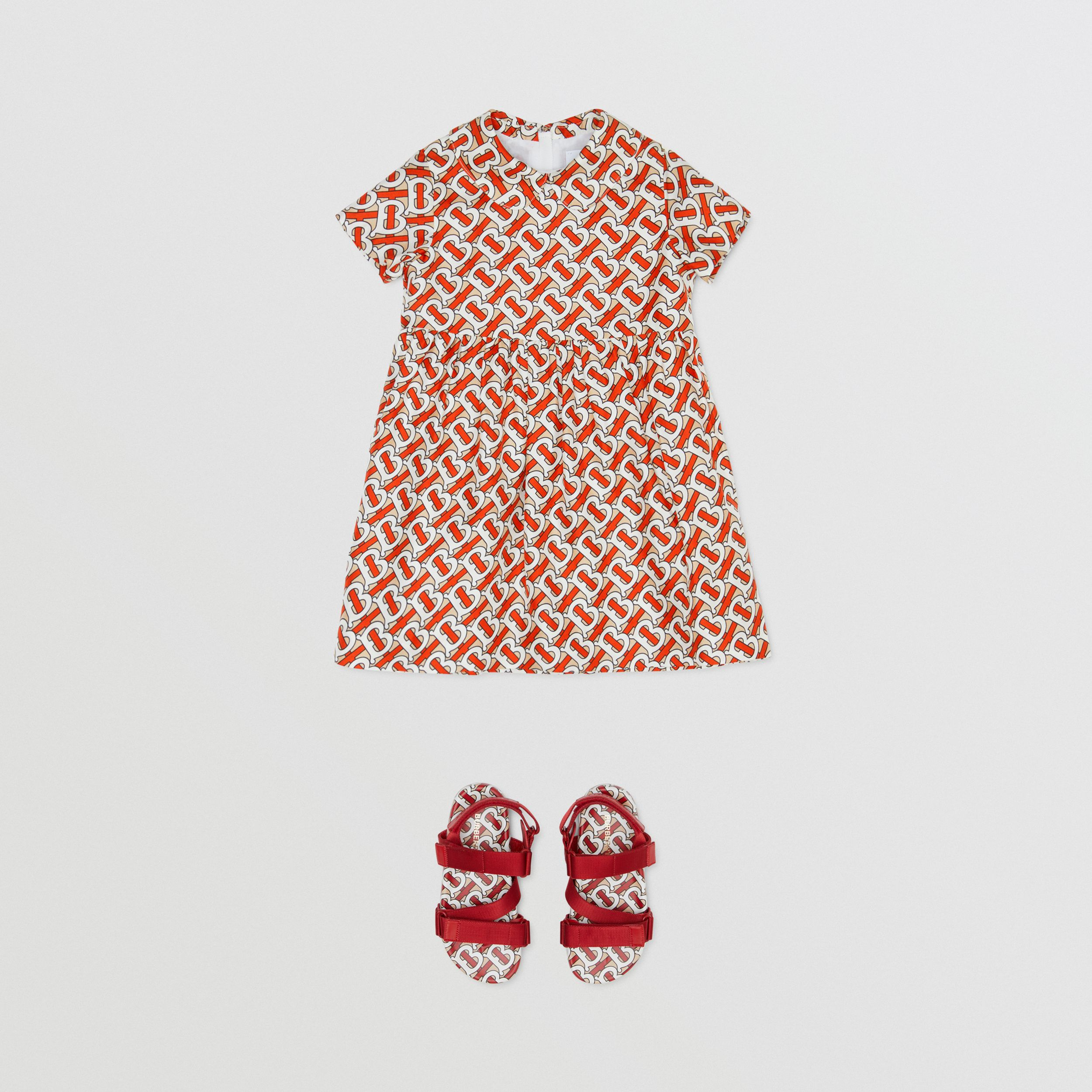 Peter Pan Collar Monogram Print Silk Dress in Vermilion Red - Children | Burberry - 3