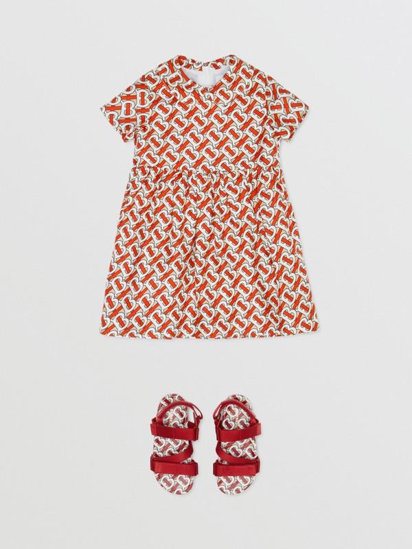 Peter Pan Collar Monogram Print Silk Dress in Vermilion Red - Children   Burberry - cell image 2