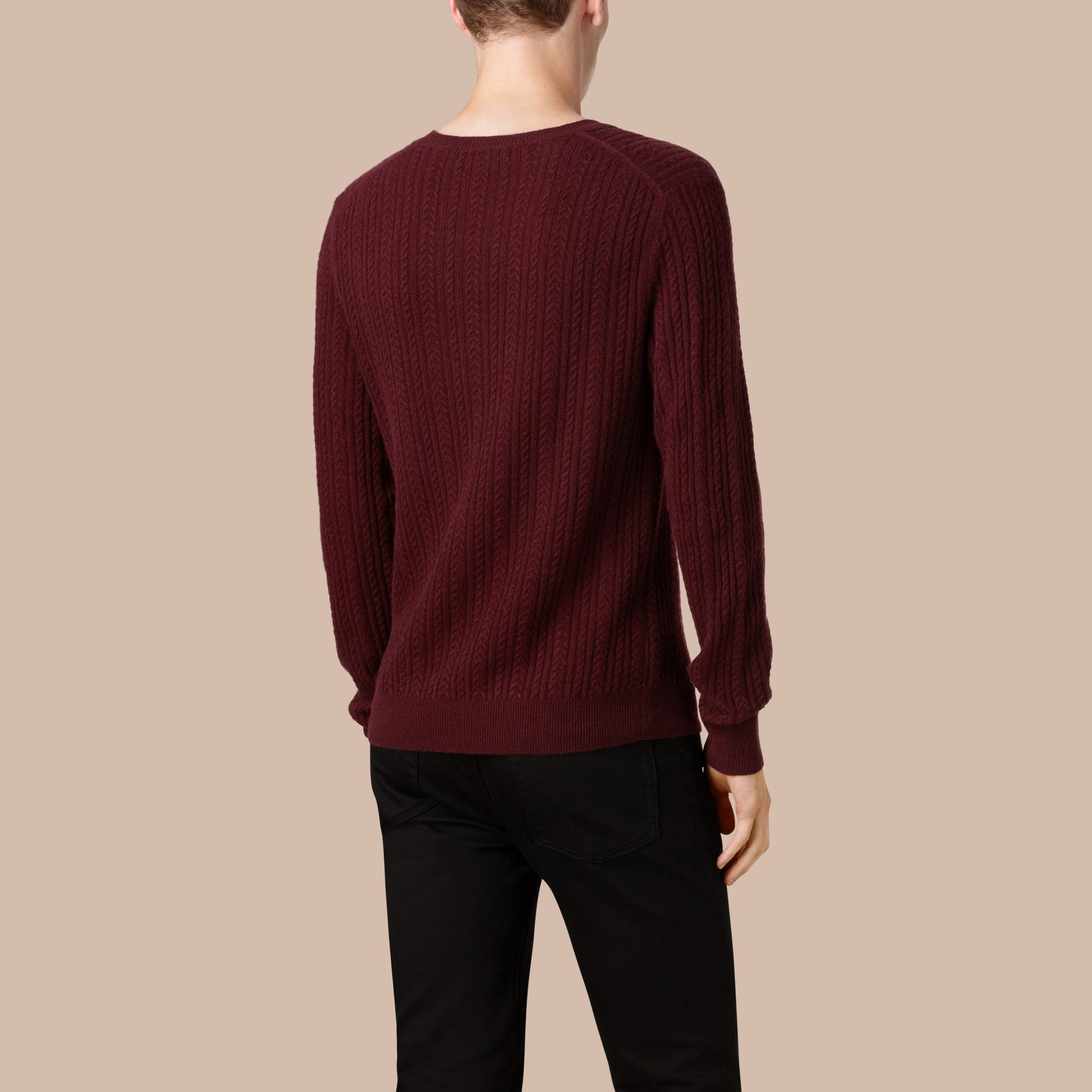 Aran Knit Cashmere Sweater in Deep Claret - gallery image 3