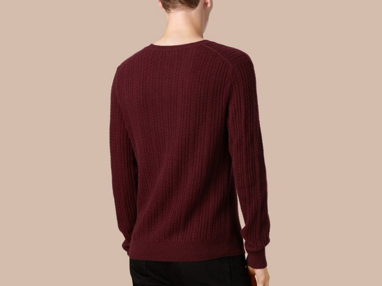 Aran Knit Cashmere Sweater in Deep Claret - cell image 2