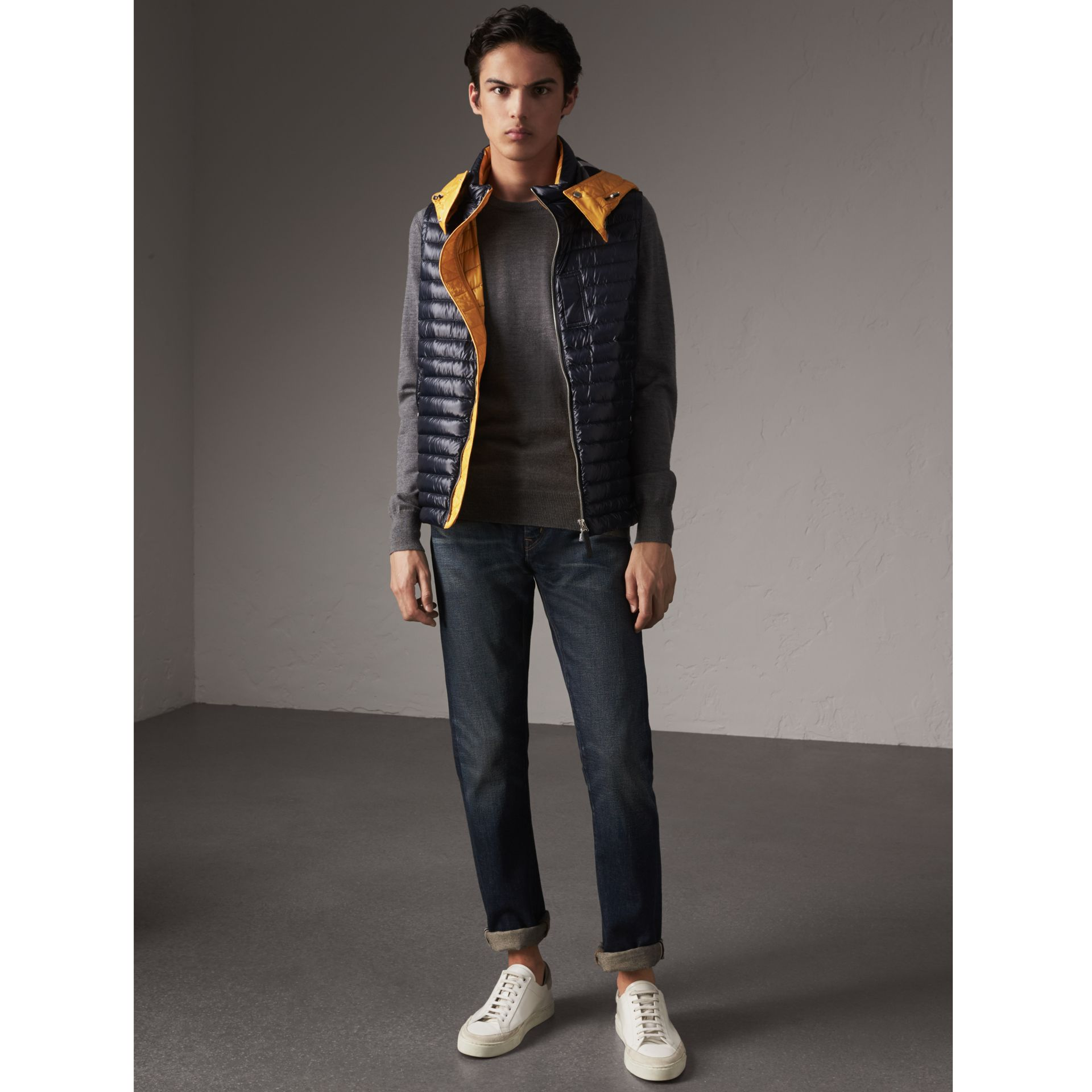 Detachable Hood Packaway Goose-down Gilet in Navy - Men | Burberry - gallery image 1
