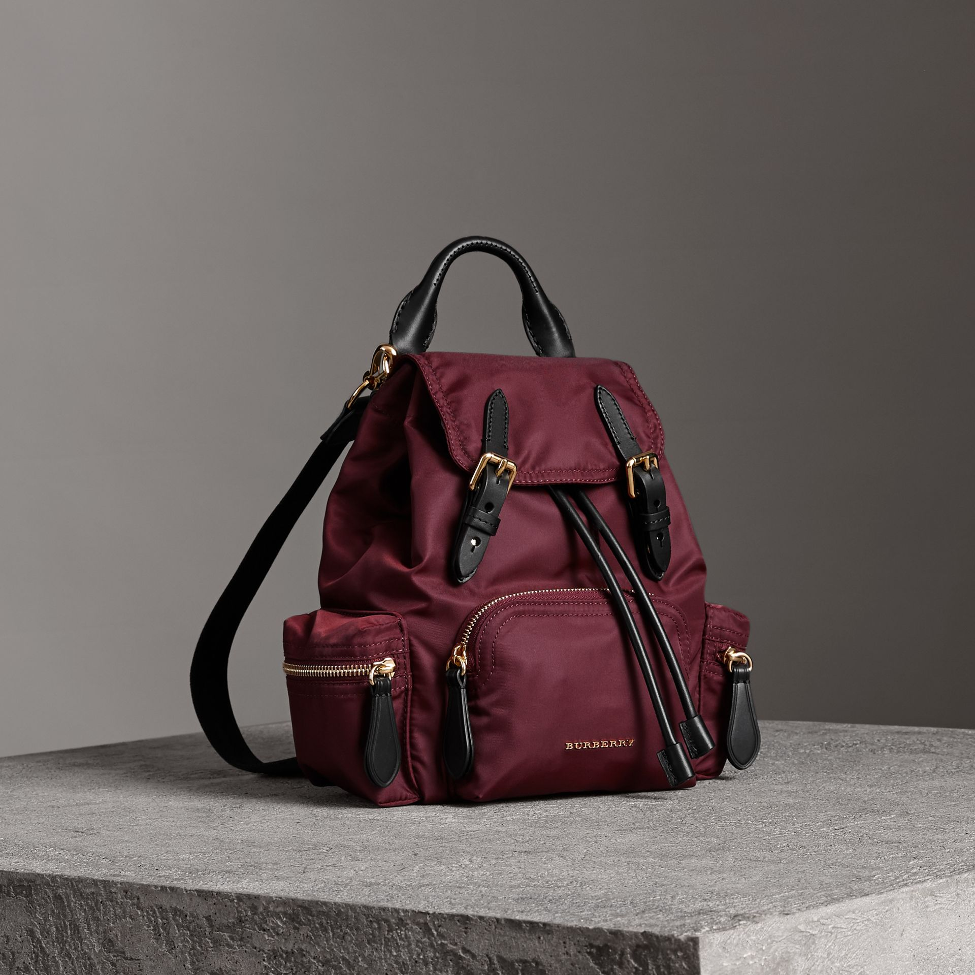 The Small Crossbody Rucksack in Nylon in Burgundy Red - Women | Burberry Singapore - gallery image 0