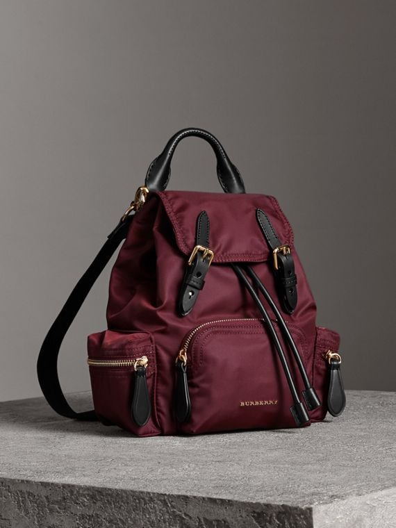 The Small Crossbody Rucksack in Nylon in Burgundy Red