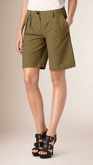 Pleat Detail Cotton Blend Utility Shorts