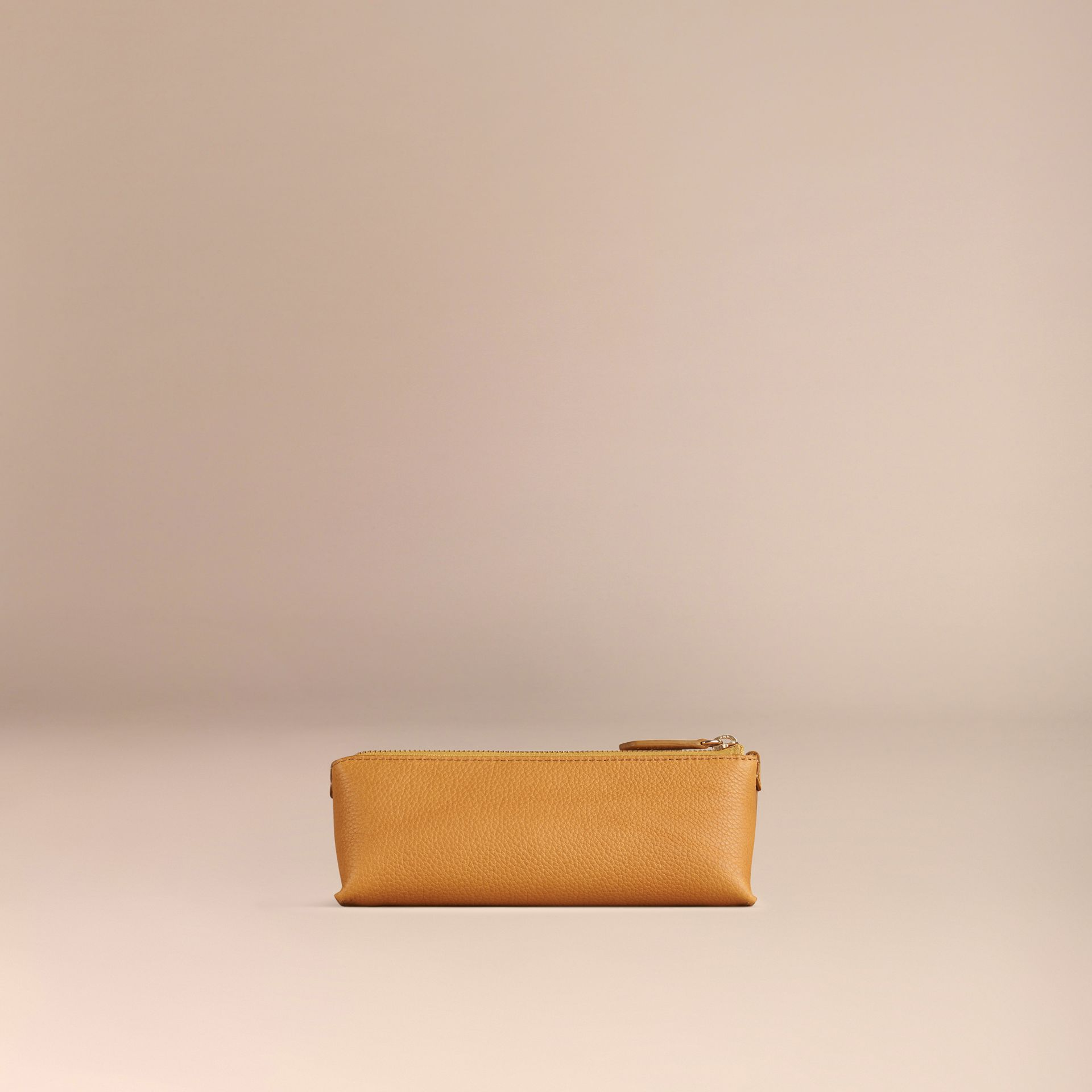 Ochre yellow Small Grainy Leather Digital Accessory Pouch Ochre Yellow - gallery image 4