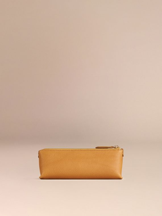 Ochre yellow Small Grainy Leather Digital Accessory Pouch Ochre Yellow - cell image 3