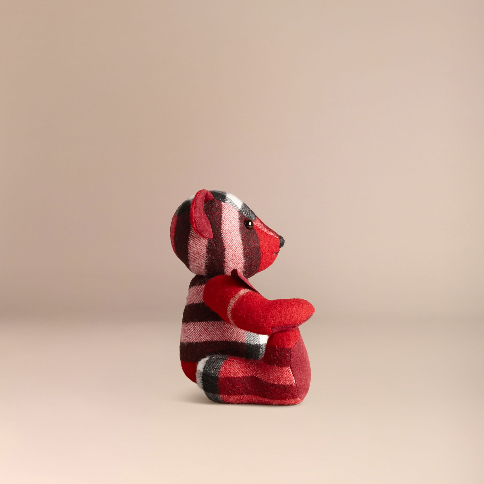 Teddy-bear en cachemire à motif check (Parade Red) | Burberry - photo de la galerie 3