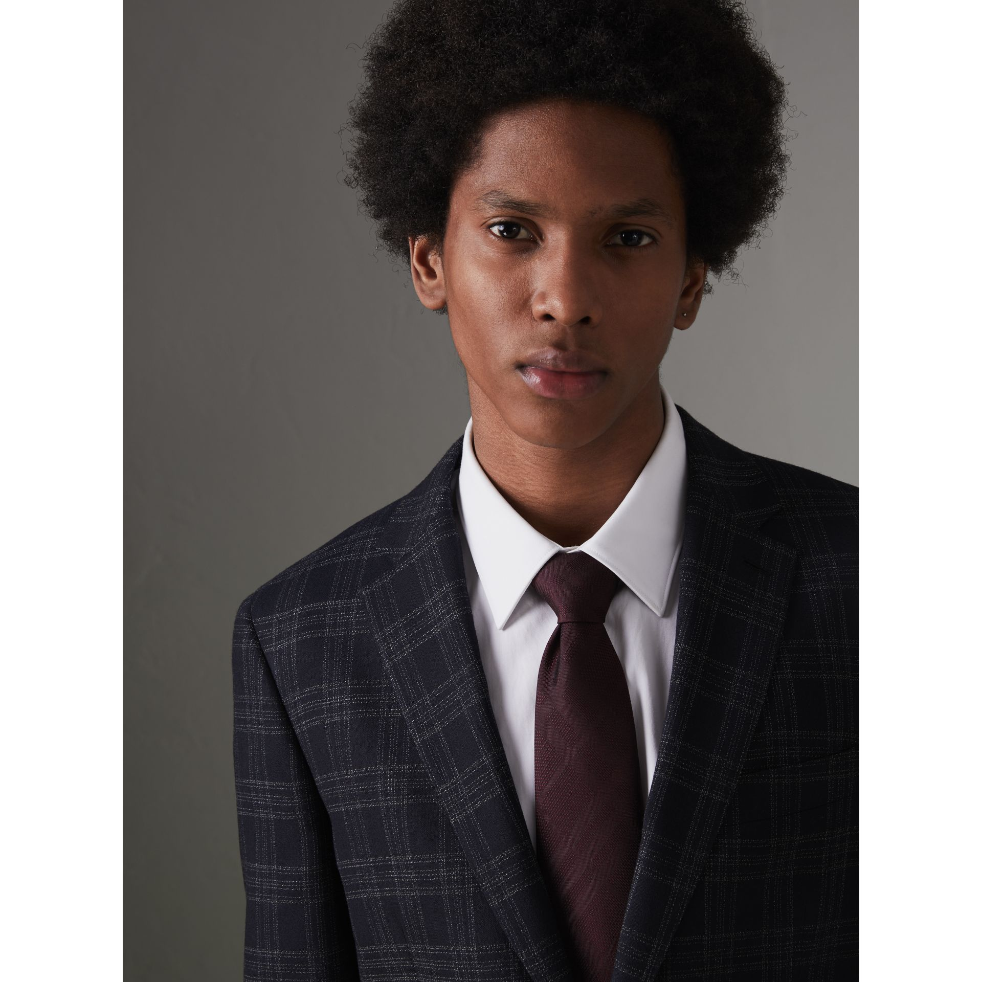 Classic Cut Check Silk Jacquard Tie in Deep Claret - Men | Burberry United States - gallery image 2