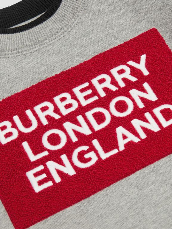 Logo Detail Jersey Sweatshirt in Grey Melange - Children | Burberry Australia - cell image 1