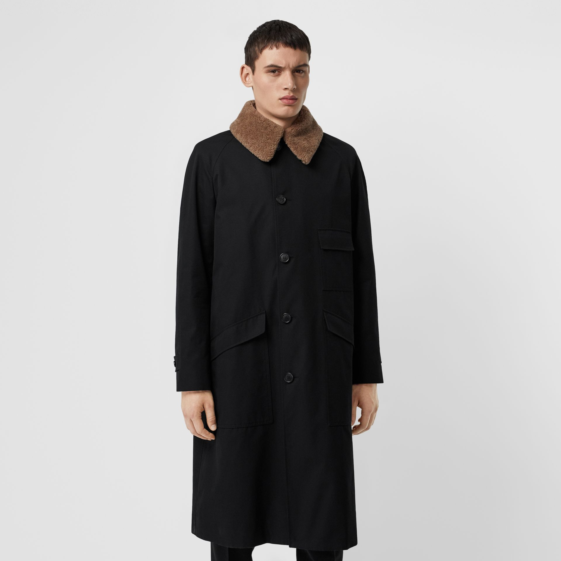 Contrast Shearling Collar Cotton Car Coat in Black - Men | Burberry Singapore - gallery image 6