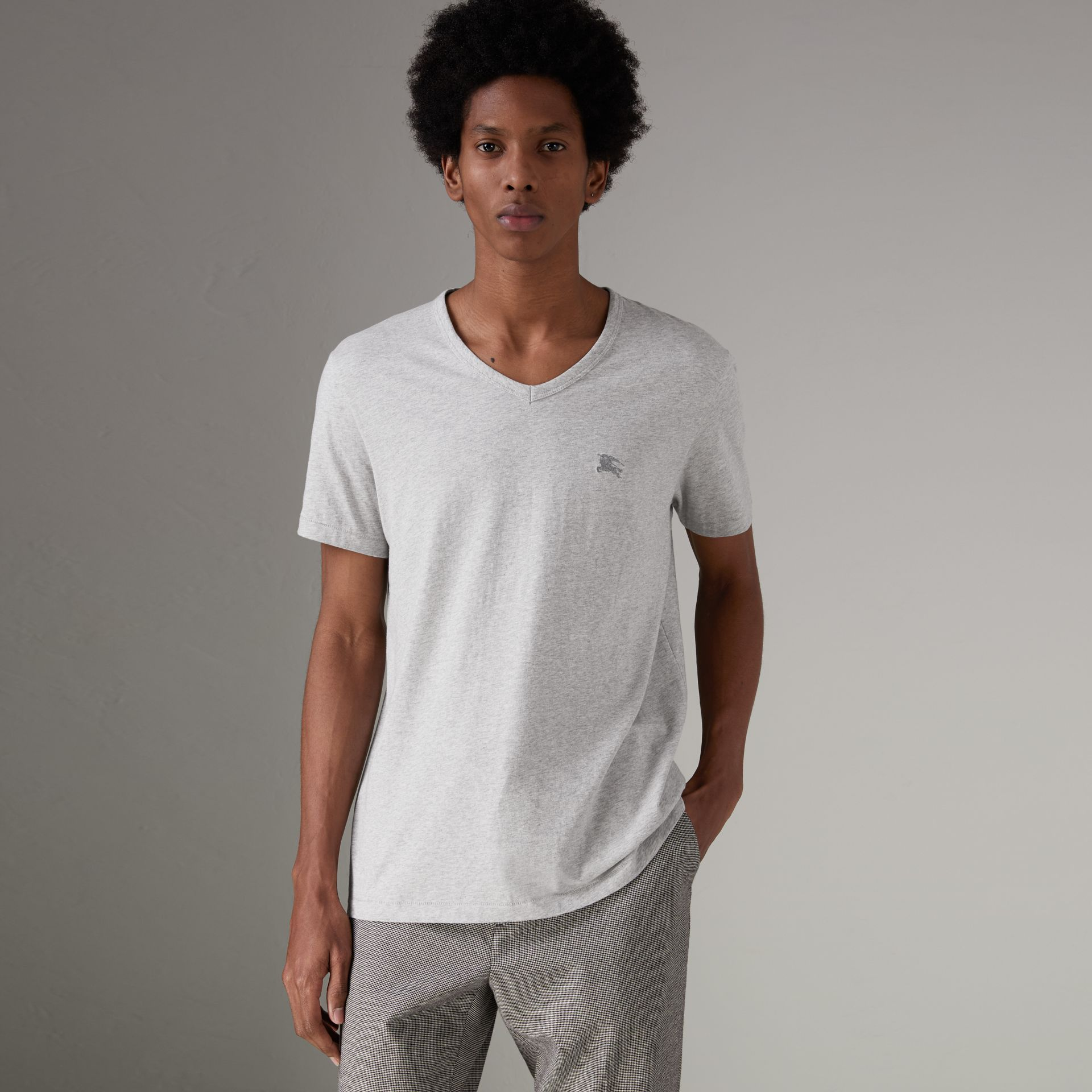 Cotton Jersey T-shirt in Pale Grey Melange - Men | Burberry Australia - gallery image 0
