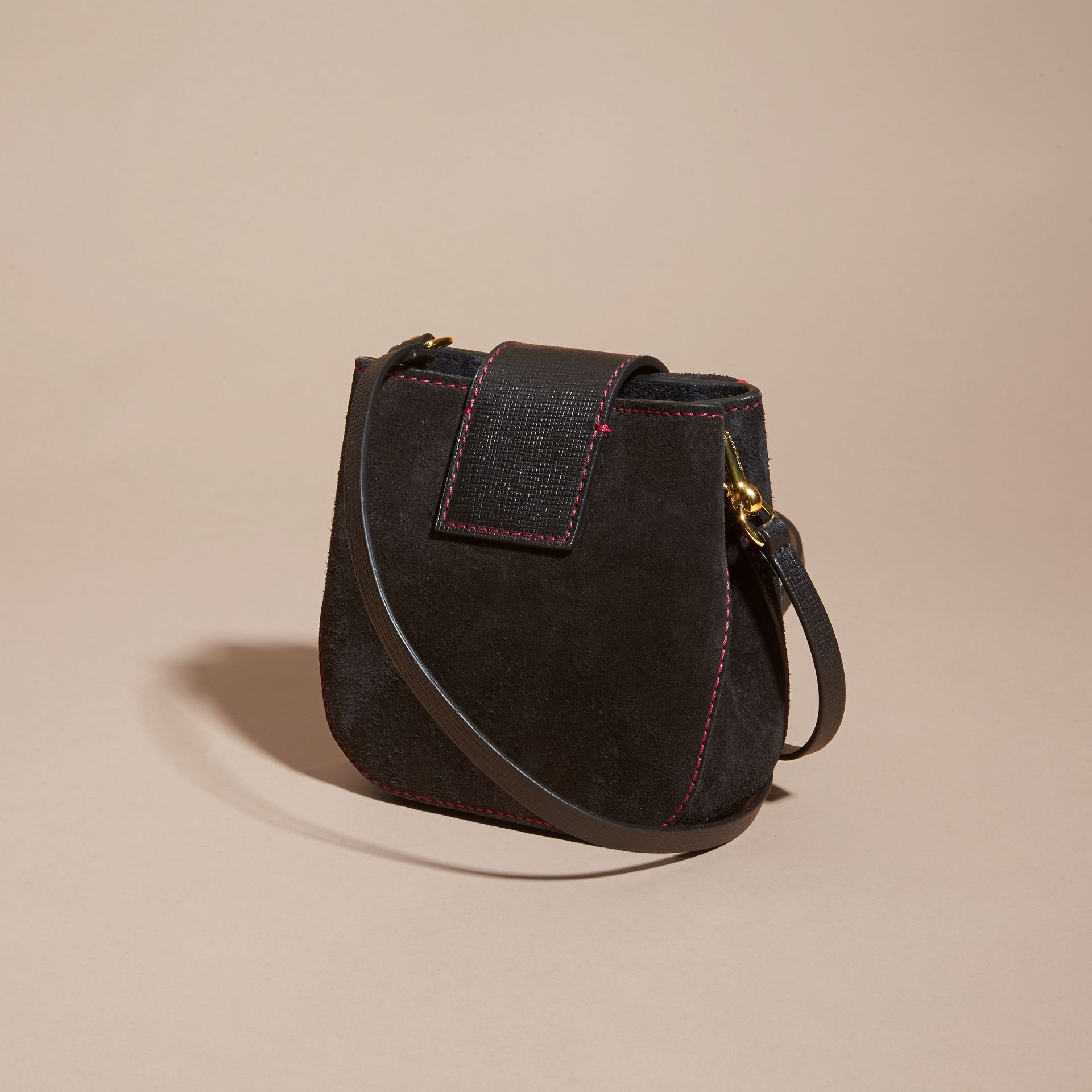 Black The Small Square Buckle Bag in Suede and Leather Black - gallery image 5
