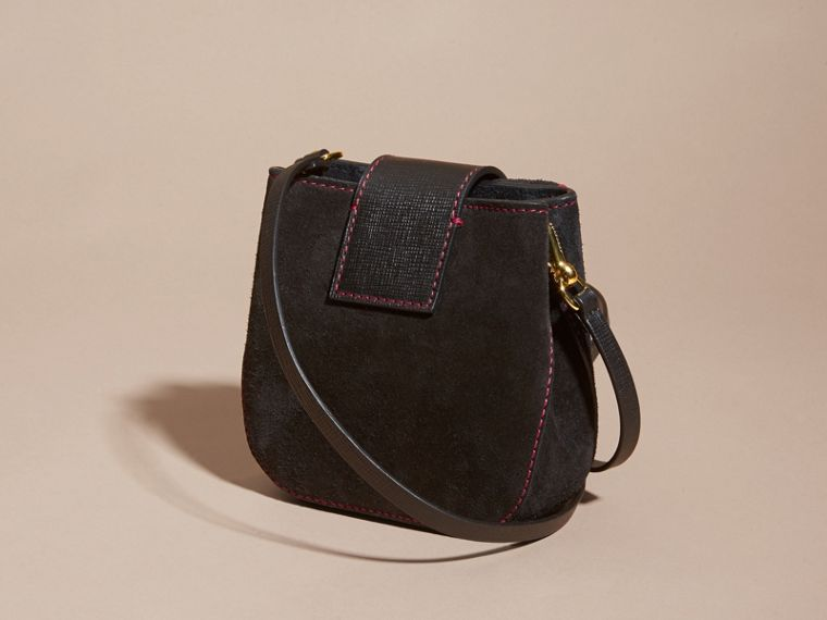 Black The Small Square Buckle Bag in Suede and Leather Black - cell image 4
