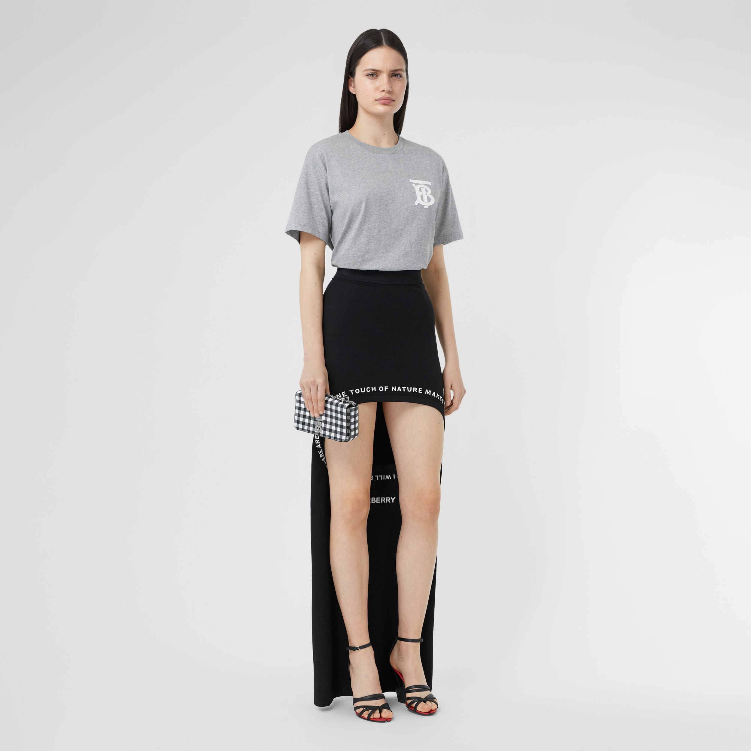 Monogram Motif Cotton Oversized T-shirt in Pale Grey Melange - Women | Burberry - 1