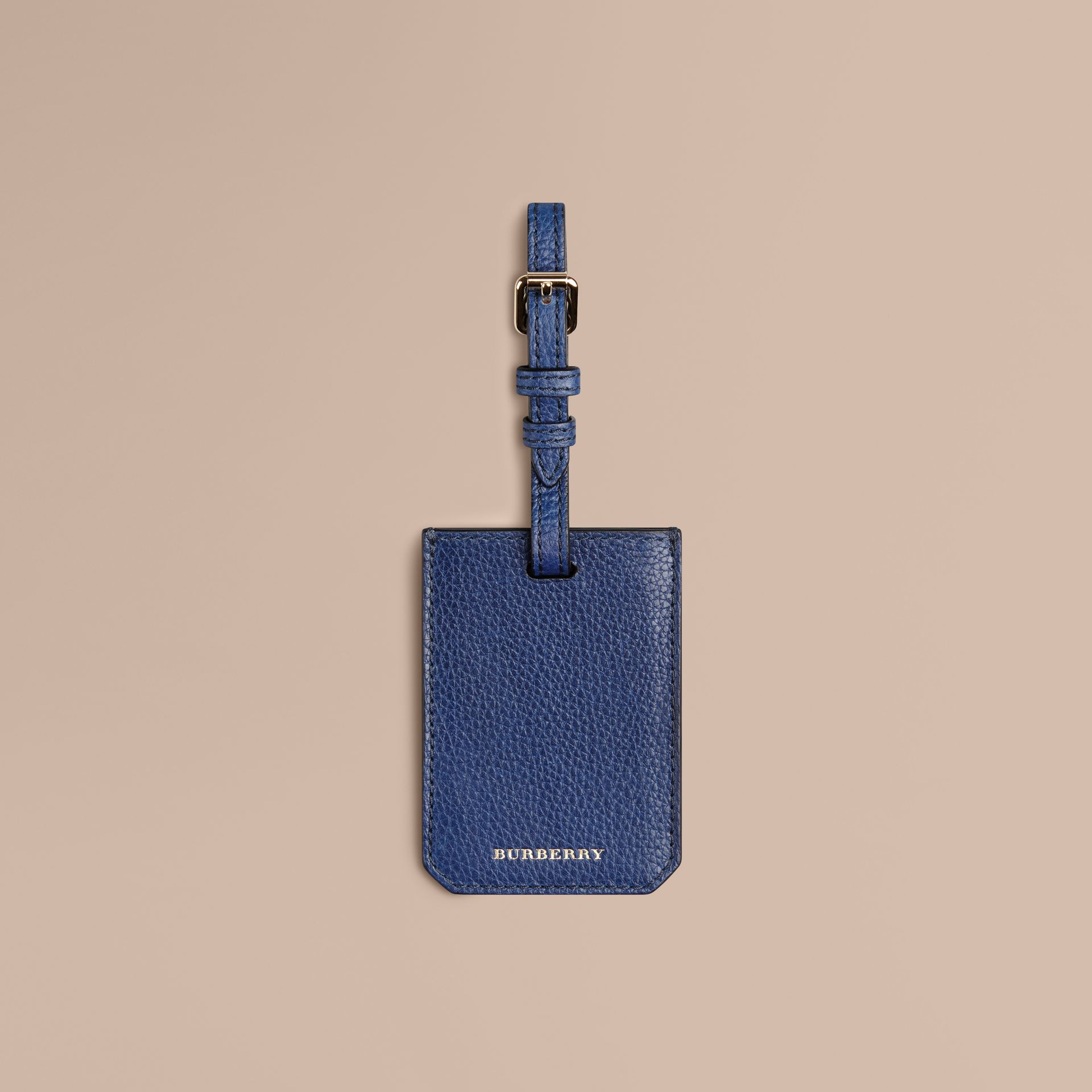 Grainy Leather Luggage Tag in Bright Navy | Burberry - gallery image 1