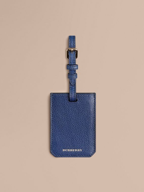 Grainy Leather Luggage Tag in Bright Navy