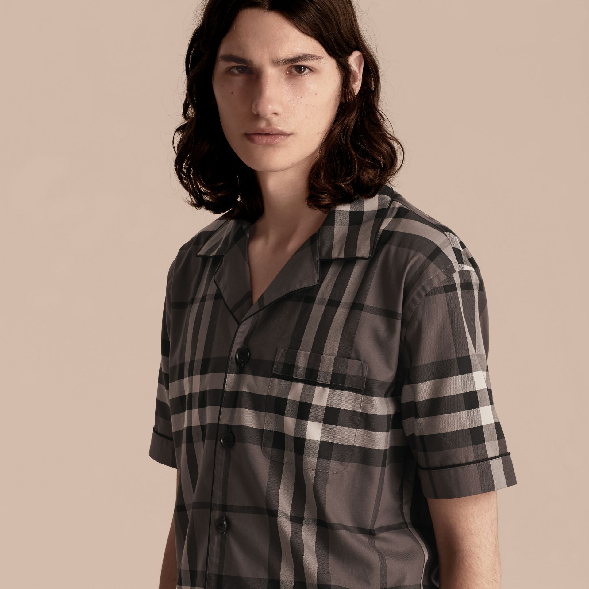 Charcoal Short-sleeved Check Cotton Pyjama-style Shirt Charcoal - gallery image 5