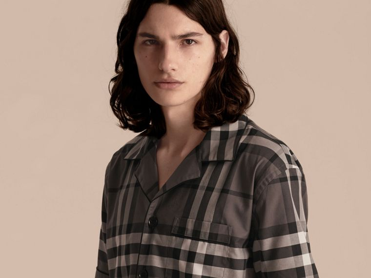 Charcoal Short-sleeved Check Cotton Pyjama-style Shirt Charcoal - cell image 4