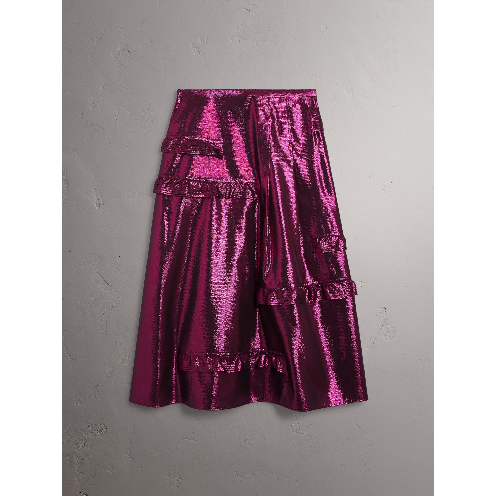 Ruffle Detail Lamé Skirt in Bright Fuchsia - Women | Burberry - gallery image 3