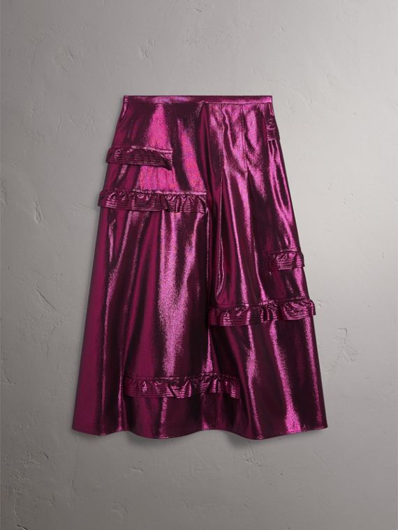 Ruffle Detail Lamé Skirt in Bright Fuchsia - Women | Burberry - cell image 3