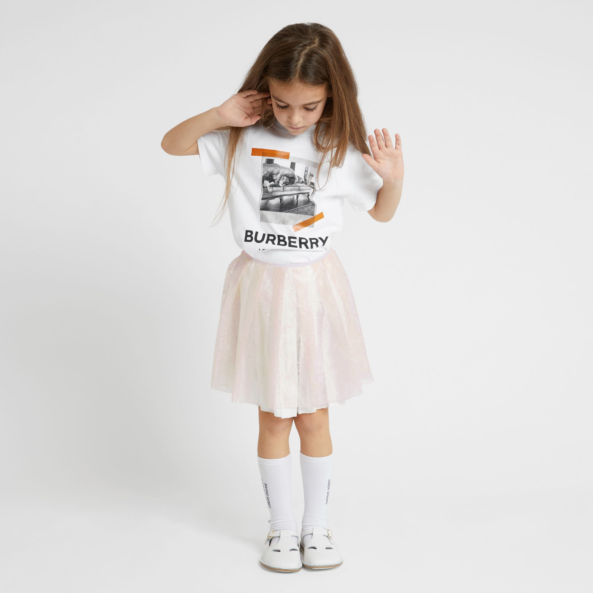 Vintage Polaroid Print Cotton T-shirt in White | Burberry - gallery image 2