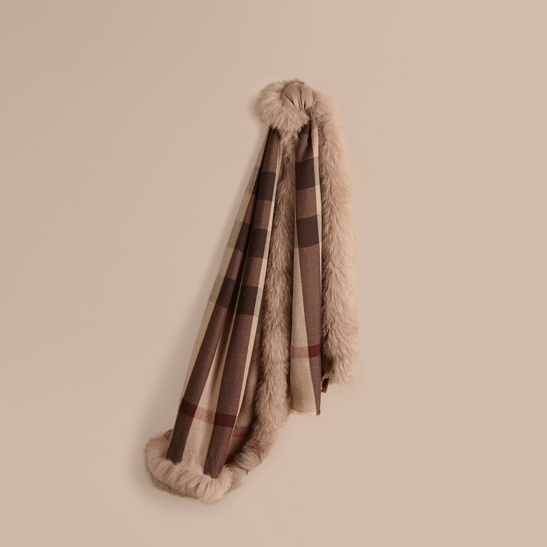 Smoked trench check Fur Trim Cashmere Check Scarf Smoked Trench - gallery image 1