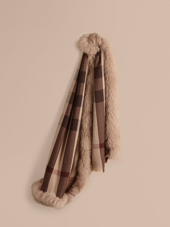 Fur Trim Cashmere Check Scarf Smoked Trench