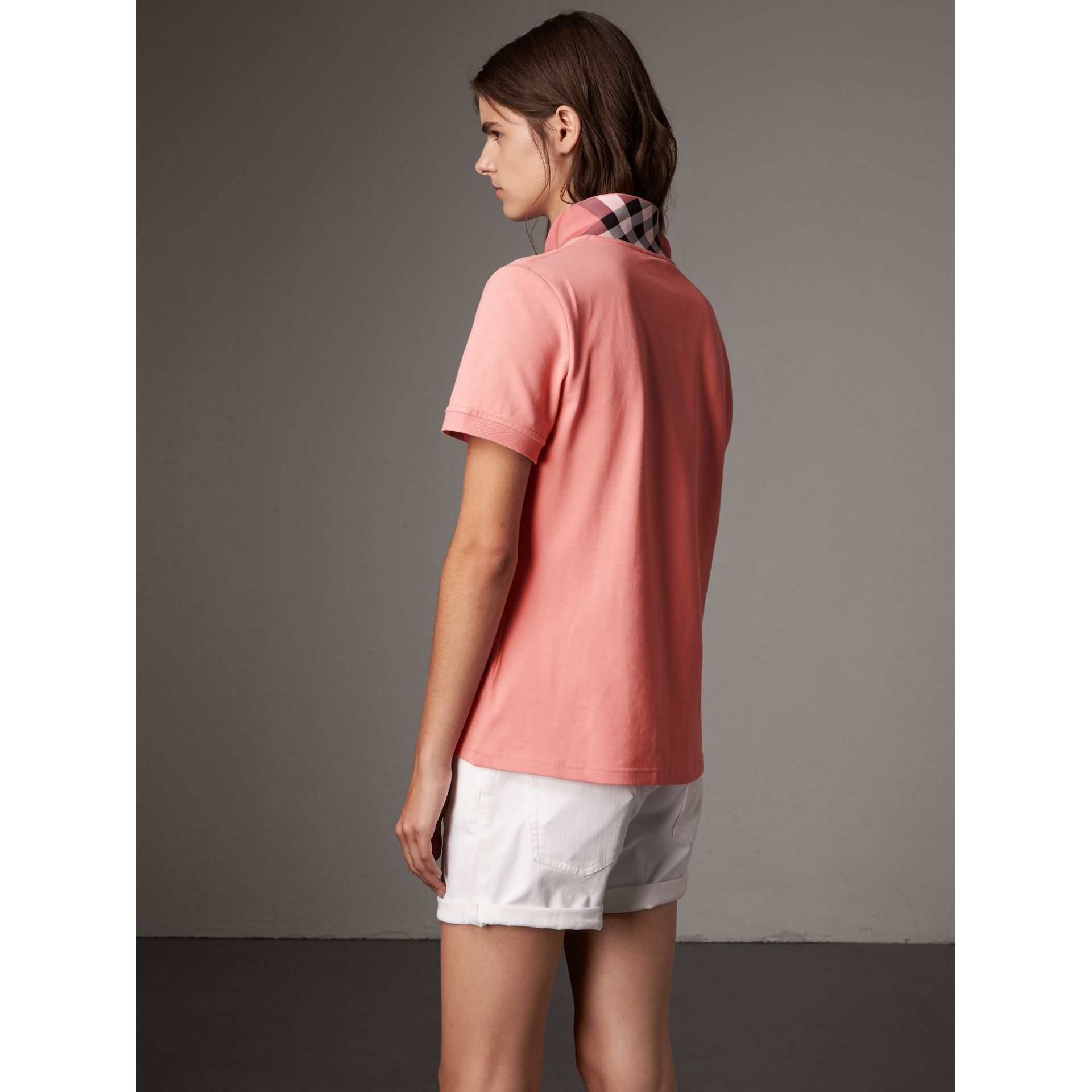 Check Trim Stretch Cotton Piqué Polo Shirt in Carnation Pink - Women | Burberry Australia - gallery image 3