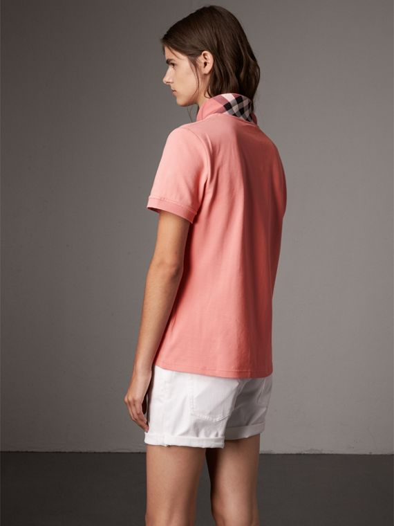 Check Trim Stretch Cotton Piqué Polo Shirt in Carnation Pink - Women | Burberry Australia - cell image 2