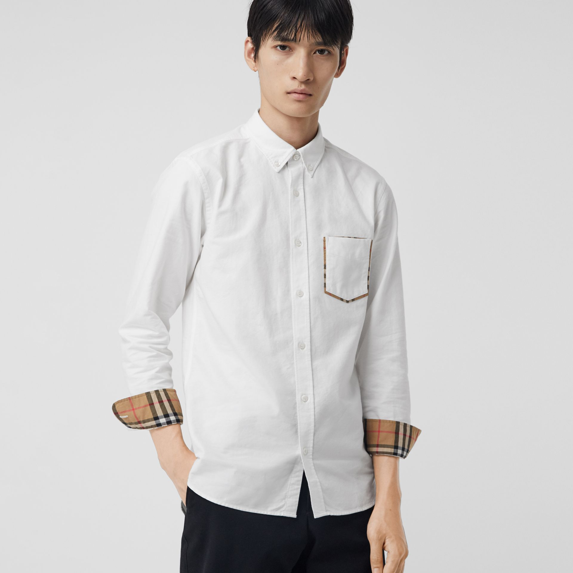 Check Detail Cotton Oxford Shirt in White - Men | Burberry Singapore - gallery image 0