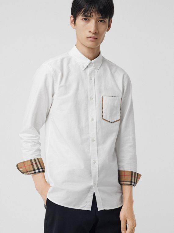 Check Detail Cotton Oxford Shirt in White