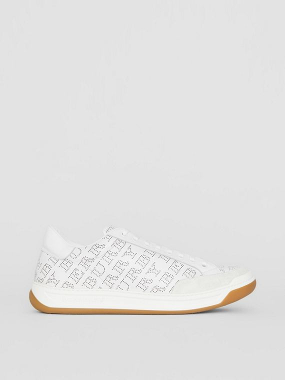 Logo Print Leather Sneakers in Optic White