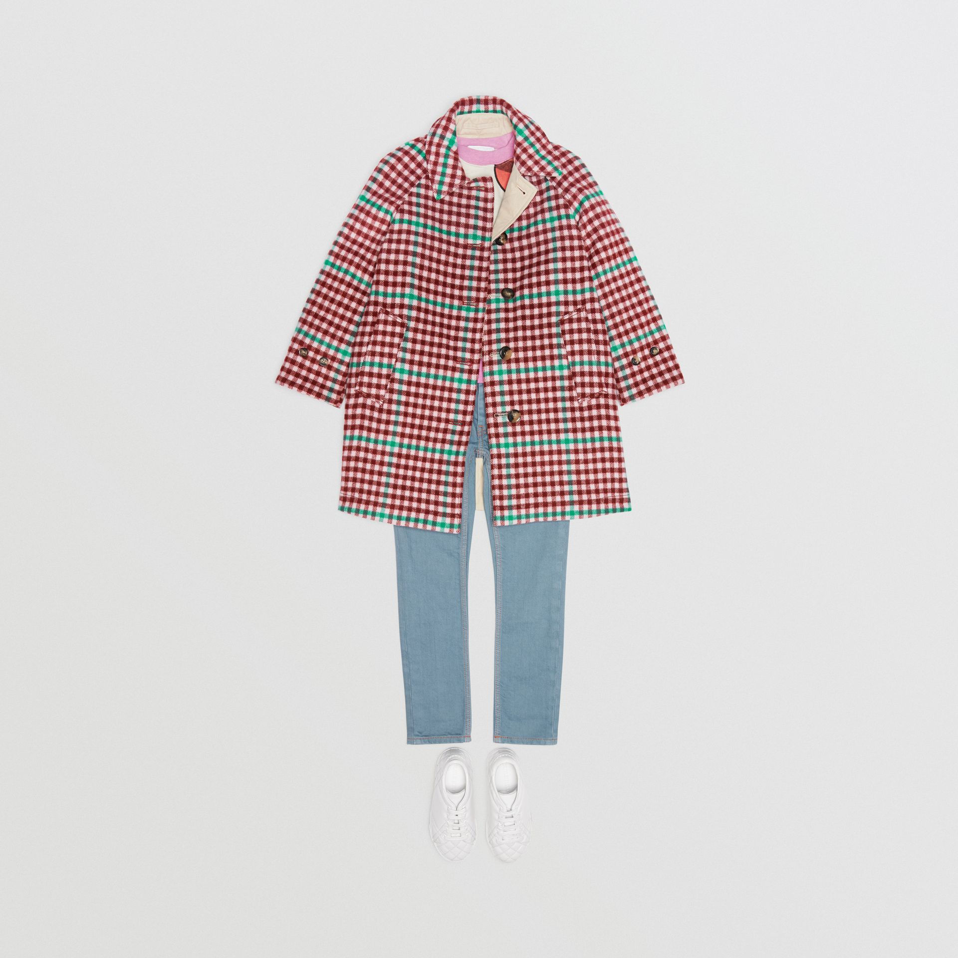 Reversible Check Wool and Cotton Car Coat in Garnet Pink - Children | Burberry - gallery image 2